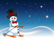 Snowman wearing a hat and a bow ties is skiing with star, sky and snow hill background for your design vector illustration Stock Photos