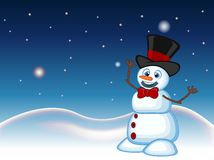 Snowman wearing a hat and a bow ties with star, sky and snow hill background for your design vector illustration Stock Photo