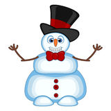 Snowman wearing a hat and bow ties waving his hand for your design vector illustration Stock Photos