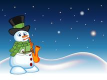 Snowman wearing a hat, green sweater and a green scarf playing saxophone with star, sky and snow hill background for your design v Stock Image