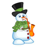Snowman wearing a hat, green sweater and a green scarf playing saxophone for your design vector illustration Stock Photography