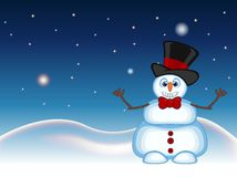 Snowman wearing a hat hat and bow ties waving his hand with star, sky and snow hill background for your design vector illustration Royalty Free Stock Photo