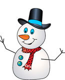 Snowman. Wearing hat and red muffler Stock Photos