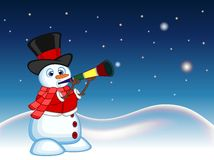 Snowman wearing a hat, red sweater and a red scarf blowing horns with star, sky and snow hill background for your design vector il Royalty Free Stock Images