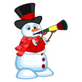 Snowman wearing a hat, red sweater and a red scarf blowing horns your design vector illustration Stock Photography