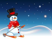 Snowman wearing a hat, red sweater and a red scarf is skiing with star, sky and snow hill background for your design vector illust Stock Image