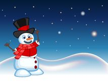 Snowman wearing a hat, red sweater and a red scarf with star, sky and snow hill background for your design vector illustration Stock Images