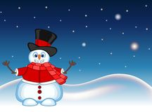 Snowman wearing a hat, red sweater and a red scarf waving his hand with star, sky and snow hill background for your design vector Royalty Free Stock Photos
