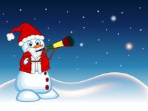 Snowman wearing a Santa Claus costume blowing horns with star, sky and snow hill background for your design Vector Illustration Royalty Free Stock Images