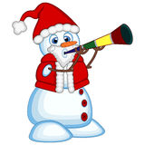 Snowman wearing a Santa Claus costume blowing horns for your design Vector Illustration Stock Image