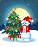 Snowman Wearing A Santa Claus Costume With Christmas Tree And Full Moon At Night Background For Your Design Vector Illustration Royalty Free Stock Photography