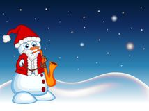 Snowman wearing a Santa Claus costume playing saxophone with star, sky and snow hill background for your design Vector Illustratio Stock Photo