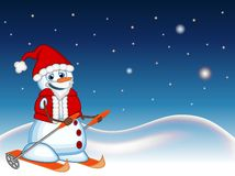 Snowman wearing a Santa Claus costume is skiing with star, sky and snow hill background for your design Vector Illustration Stock Images
