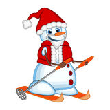 Snowman wearing a Santa Claus costume is skiing for your design Vector Illustration Royalty Free Stock Photo