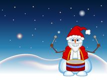 Snowman wearing a Santa Claus costume with star, sky and snow hill background for your design Vector Illustration Stock Photography