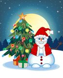 Snowman Wearing A Santa Claus Costume Waving His Hand With Christmas Tree And Full Moon At Night Background For Your Design Vector Royalty Free Stock Photos