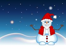 Snowman wearing a Santa Claus costume waving his hand with star, sky and snow hill background for your design Vector Illustration Royalty Free Stock Photo