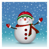 Snowman wearing santa hat and gloves Royalty Free Stock Images