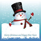 Snowman wearing santa hat and gloves Stock Image