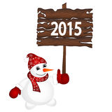 Snowman wearing santa hat isolated on the white background Stock Images