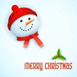 Snowman wearing scarf in Christmas Card Royalty Free Stock Photos