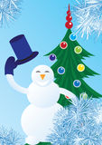 Snowman welcomes Royalty Free Stock Photography
