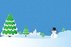 Snowman whis winter background Stock Images