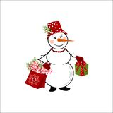 Snowman on white background Royalty Free Stock Photo