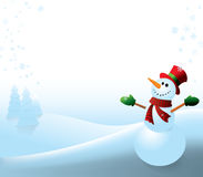 Snowman on a white background. Illustration of a happy snowman with his arms raised. Lots of room to write your own message Stock Photos