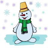 Snowman on a white background with snowflakes stock illustration
