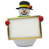 Snowman. On white, with blank sign Stock Photos
