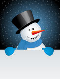 Snowman with white blank Stock Images