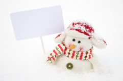 Snowman with white board Stock Photos