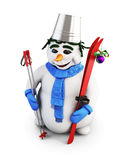 Snowman on a white. 3d illustration. Stock Image
