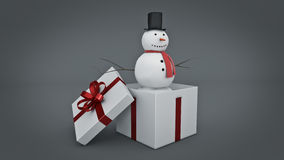 Snowman in white gift box. Gift box concept. 3D rendering Royalty Free Stock Photo