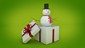 Snowman in white gift box. Gift box concept. 3D rendering Stock Photography