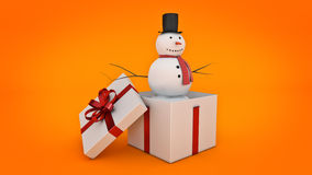 Snowman in white gift box. Gift box concept. 3D rendering Stock Photos