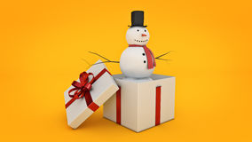 Snowman in white gift box. Gift box concept. 3D rendering Stock Images