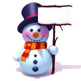 Snowman with white panel. 3d illustration   over white background Stock Photos