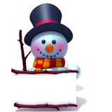 Snowman with white panel 3d illustration Royalty Free Stock Images