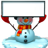 Snowman with white panel 3d illustration Stock Photo