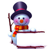 Snowman with white panel 3d illustration Stock Images