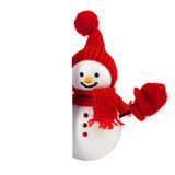 Snowman with white paper Royalty Free Stock Photos