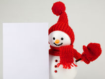 Snowman with white paper Stock Photography