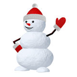 Snowman on white pointing to something Stock Images
