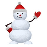 Snowman on white pointing to something Stock Image