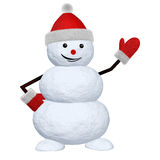 Snowman on white pointing to something Royalty Free Stock Image