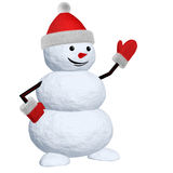 Snowman on white pointing to something Royalty Free Stock Photo