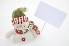 Snowman with white sign Stock Images