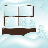 Snowman window Stock Photos